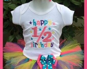 1/2 birthday tutu, half birthday tutu, 1/2 birthday cake smash, half birthday cake smash, 1/2 birthday party, 1/2 birthday dress