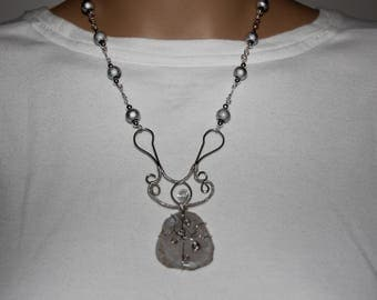 Silver and gray pendant necklace in sterling silver