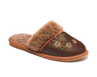 Polish Felted Wool Slippers, Folk-Inspired Handmade Comfortable Carpet Slippers, Womens Shoes