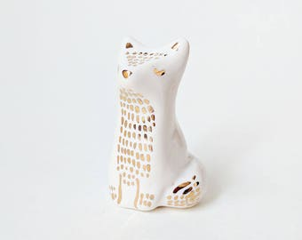 Gold and White Fox Figurine