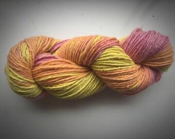Candy floss handdyed, handspun, alpaca yarn