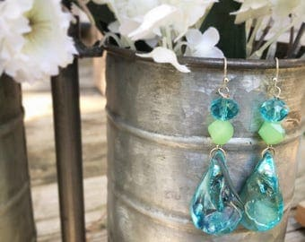 Blue Abalone Seashell Dangle Earrings