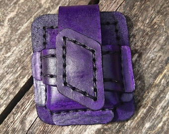 Handmade purple leather holster/pouch for zippo or star style lighter