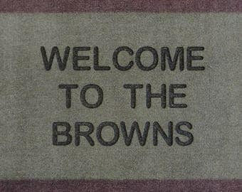 Greeny Brown  Personalised Engraved Machine Washable Door Mat  40cm x 70cm Internal Dirt Trapper Great for Dirty Paws