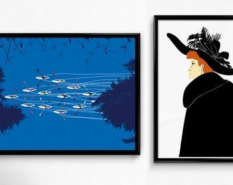 A4 prints - red headed woman-person-canoes- home decor - Stampe A4 - persona-donna-capelli rossi-canoe- design - decorazioni per la casa