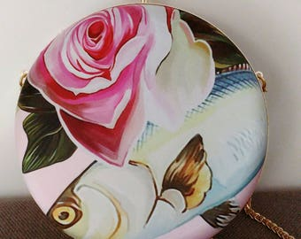 Rose and fish shoulder bag