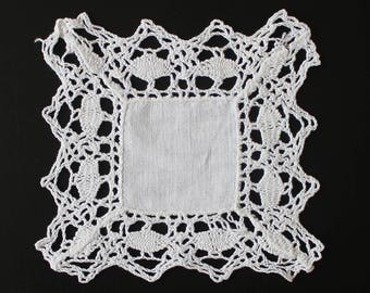 Vintage fine crochet doily, 100% cotton, white colour