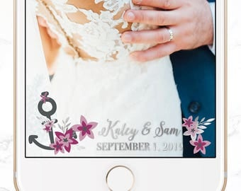 custom snapchat filter / personalized wedding snap chat geofilter / nautical wedding / SGF-42