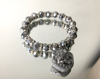 SALE!! Druze Bracelet, Silver Bracelet, Silver & Grey Druze Bracelet, Silver and Grey Rhinestone Bracelet SALE!!