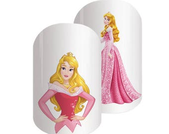 Aurora Disney nail transfers - illustrated nail art decals - Sleeping Beauty, Princess  - Disney nail stickers