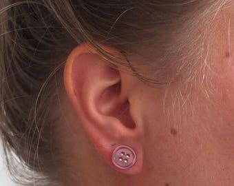 Button earrings purple | handmade stud earrings
