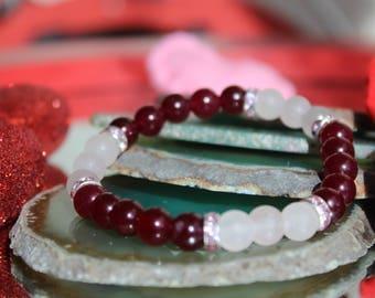 Rose and Ruby Red Quartz Bracelet