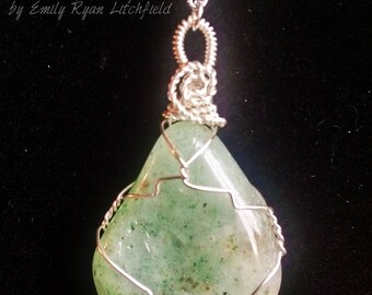 Tumbled Jade Wire Wrapped Crystal with Elephant Charm Pendant on chain