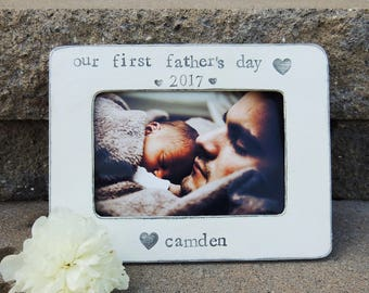 Our First father's day frame Personalized father's day gift Custom Happy fathers day Picture frame gift for dad grandpa gifts gifts for papa