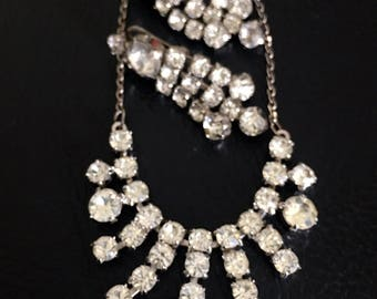Vintage rhinestone demi parure necklace and clip earrings matching set