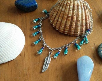 Beaded Anklet With Feather Charm