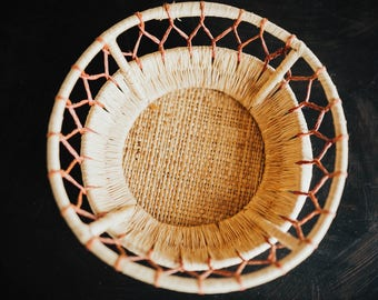 Old Raffia Ethnic Basket Bowl