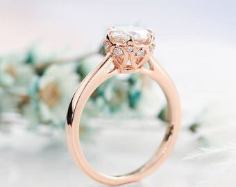 Forever Brilliant Moissanite engagement ring rose gold Art deco Solitaire Unique Diamond wedding Alternative Bridal Prong set Anniversary