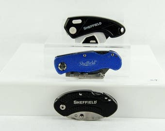 Lot of 3 Sheffield Folding Lock Back Utility Knife Box Cutter