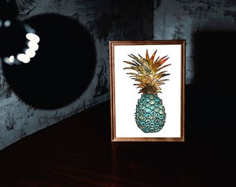 Geen Pineapple Print, Pineapple Art, Pineapple Decor, Wall Art, Printable ,Digital Art, Office Decor, Summer Art, Office Decor, Pineapple