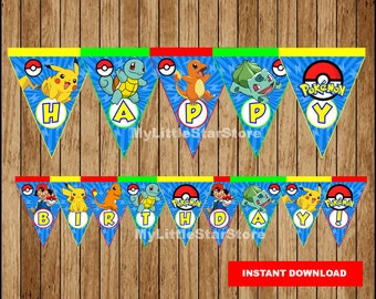 Pokemon Banner, Printable Pokemon Triangle Banner, Pokemon party Banner Instant download
