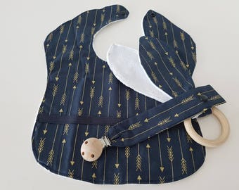 Navy and Gold with Black middle strip design 3 piece Set - Bib, Dummy Chain & Teether ( Extra Large)