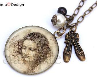 Necklace woman Leonardo Da Vinci beads black white brown beige Art ballet