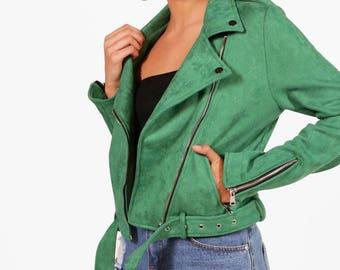 Rebecca Premium Vegan Suede Biker Jacket