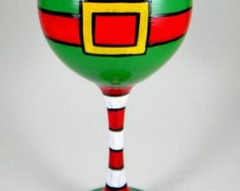 Hand Painted Christmas Elf wine glass