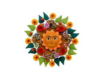 "Mexican Sun ""Sol de la Vida 4"" - Mexican Sun made of Clay, Clay work, Pottery"