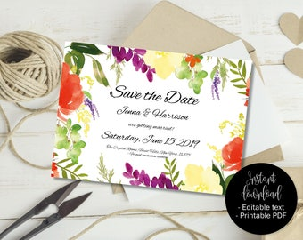 Printable Wedding Save the Date Invite, Wedding Save the Date Template, Editable Save Date PDF, DIY Save Date, Watercolor Border 2 SAVE-2