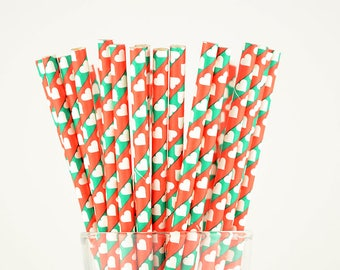 Red/Green Hearts Paper Straws - Party Decor Supply - Cake Pop Sticks - Party Favor