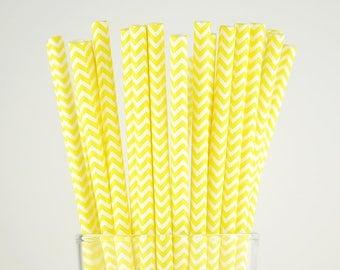 Yellow Chevron Paper Straws - Mason Jar Straws - Party Decor Supply - Cake Pop Sticks - Party Favor