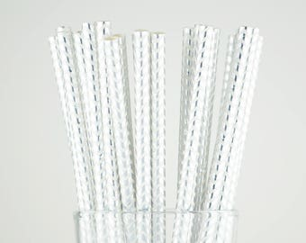 Silver Foil Chevron Paper Straws - Mason Jar Straws - Party Decor Supply - Cake Pop Sticks - Party Favor