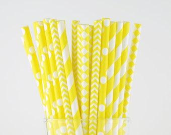 Yellow Paper Straw Mix - Chevron/ Polka Dots/ Striped/ Diamond - Party Decor Supply - Cake Pop Sticks - Party Favor