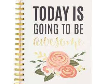 Journal Notebook - Spiral Bound - Today is Going to be Awesome - Blush Pink Roses Design - Gold Metallic - Gold Binding - American Crafts
