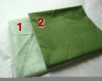 150cmx50cm Cotton Fabric green white Polka Dot