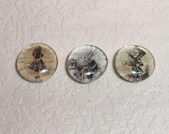 Alice & Wonderland Large Glass Magnets