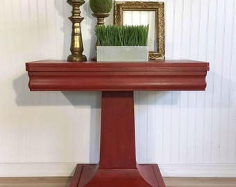 Vintage Painted Pedestal Game Table, Entryway Table, Side Table, Sofa Table  Or Breakfast