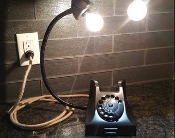 Vintage Black Rotary Phone Light