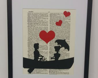 Silhouette Art Print - Couple Silhouette Art - Man and Woman Sitting in a Row Boat - Couple Love Art - Couple in Row Boat - Book Art