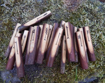 Hand Crafted & Branded - Willow Ogham Staves