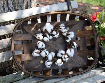 Cotton wreath, Mini Cotton boll wreath, Rustic Tobacco basket, Fixer Upper Style, Farmhouse wreaths, Country Charm, Rustic Farmhouse decor