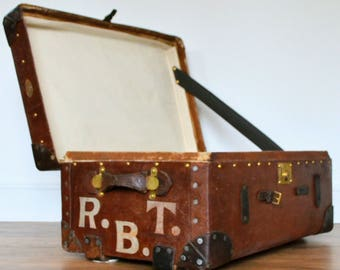 Vintage canvas and leather Travel Trunk with brass fittings