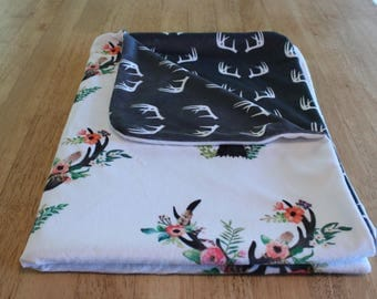 White and Gray Deer themed minky baby blanket with antlers and flowers