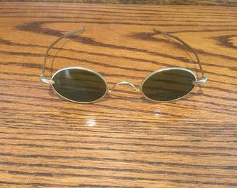 Vintage Steampunk Gold Tone Oval Sunglasses
