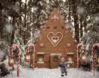 Gingerbread House Digital Backdrop, Gingerbread Background, Gingerbread Stock, Winter Backdrop, Ginger Overlay, Christmas Backdrop, PNG