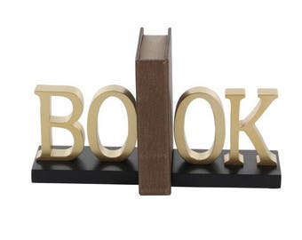 "Bookend with ""book"" sign"