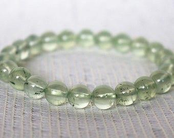 AA Natural Prehnite bracelet Beaded Bracelet Prehnite Natural gemstone bracelets Prehnite bracelets