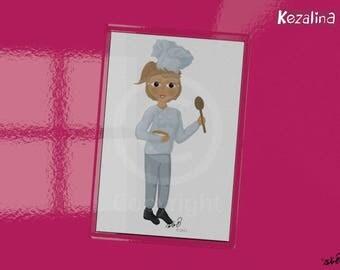 Girl Chef Magnet, Cartoon Drawing Print, Cooking, Baking, Kezalina Woman Chef Magnet